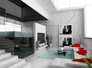 salon czarno bialy czerwony